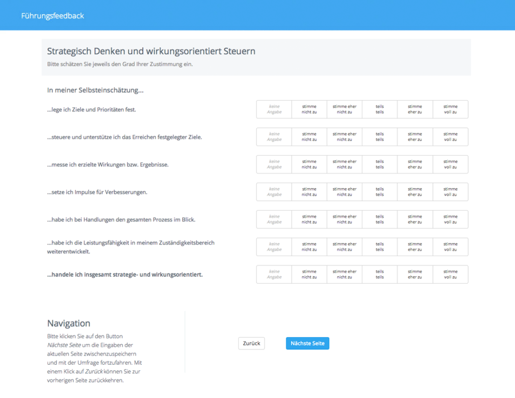 360-Grad-Feedback Online-Fragebogen